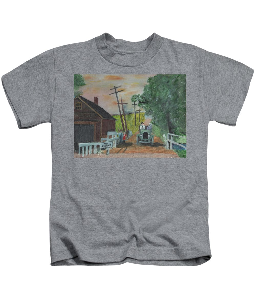 Vintage Cars Kids T-Shirt featuring the painting No Fishing by Cliff Wilson
