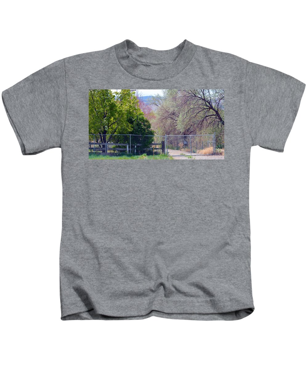 Fence Kids T-Shirt featuring the photograph No Trespassing by Brent Dolliver