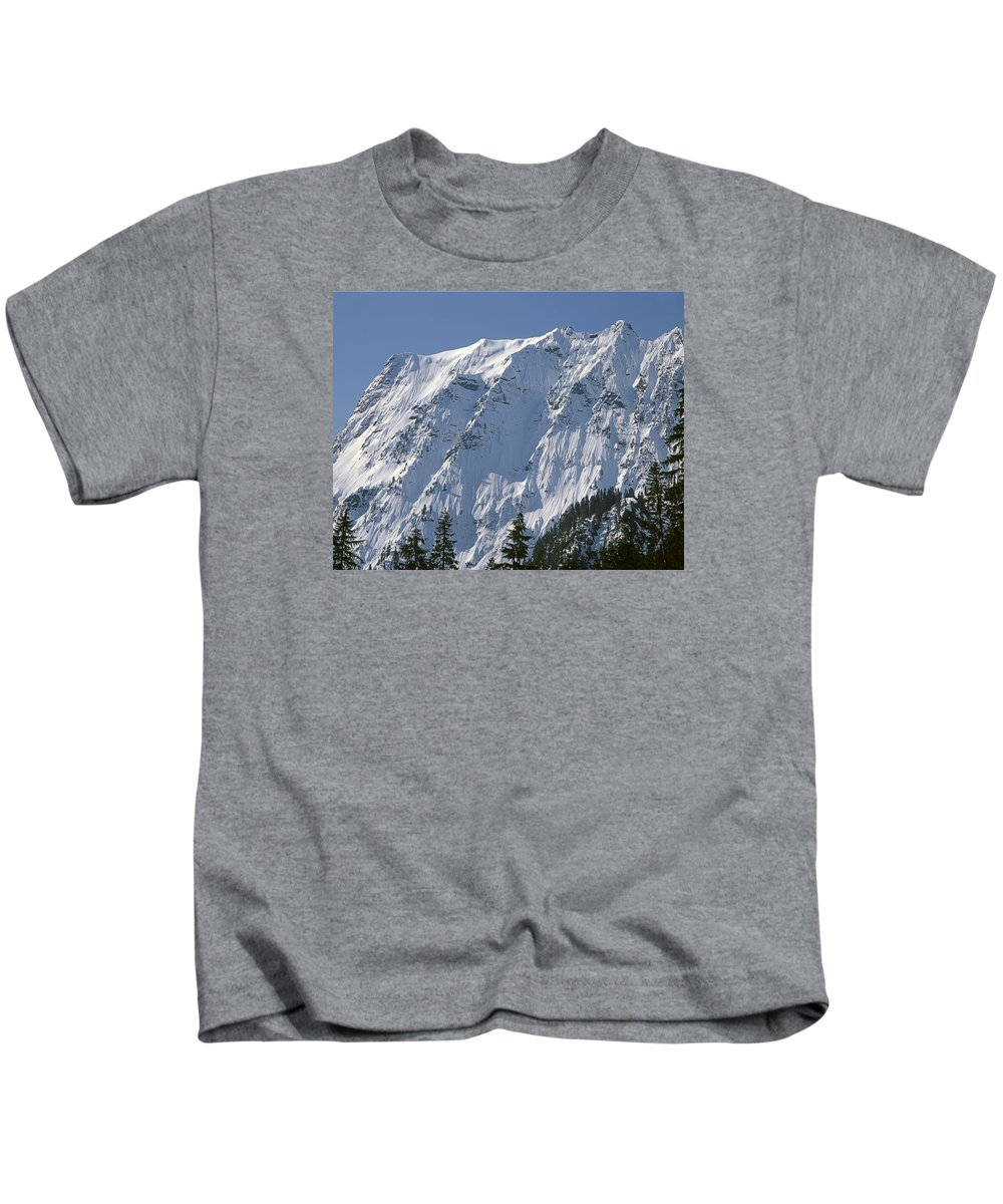 North Face Big Four Mountain Kids T-Shirt featuring the photograph 1m4443-north Face Of Big Four Mountain by Ed Cooper Photography