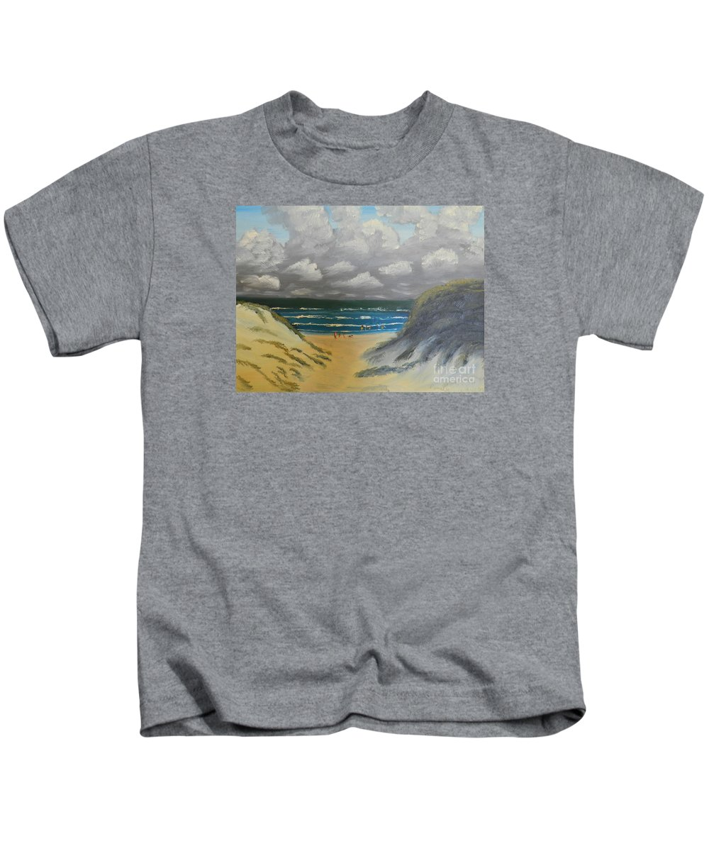 Impressionism Kids T-Shirt featuring the painting North Windang Beach by Pamela Meredith