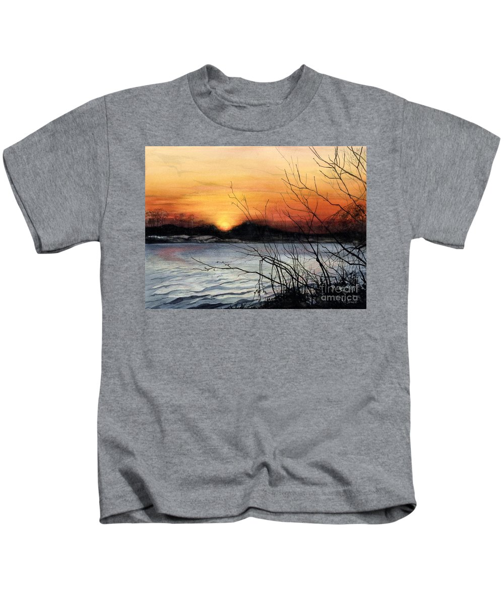 Water Color Paintings Kids T-Shirt featuring the painting November Sunset by Barbara Jewell