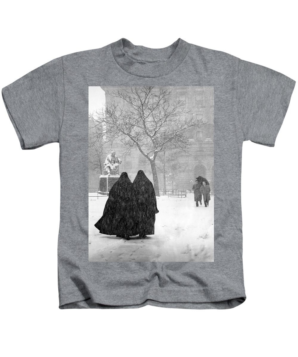Christmas Kids T-Shirt featuring the photograph Nuns In Snow New York City 1946 by Melissa A Benson