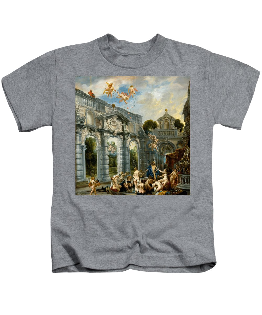 Jacob Jordaens Kids T-Shirt featuring the painting Nymphs At The Fountain Of Love by Jacob Jordaens
