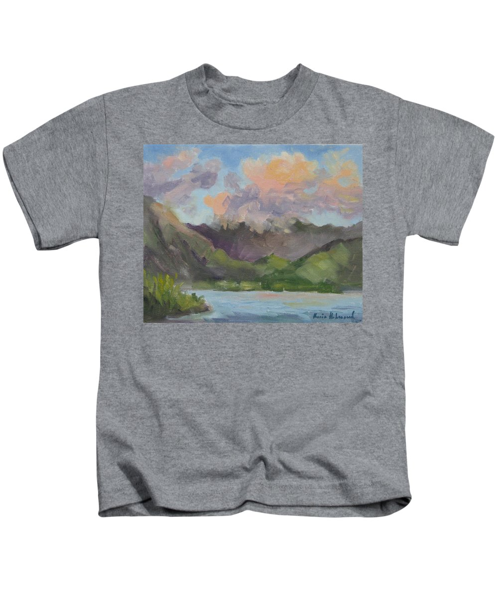 Hawaii Kids T-Shirt featuring the painting Oahu Sunrise by Karin Leonard