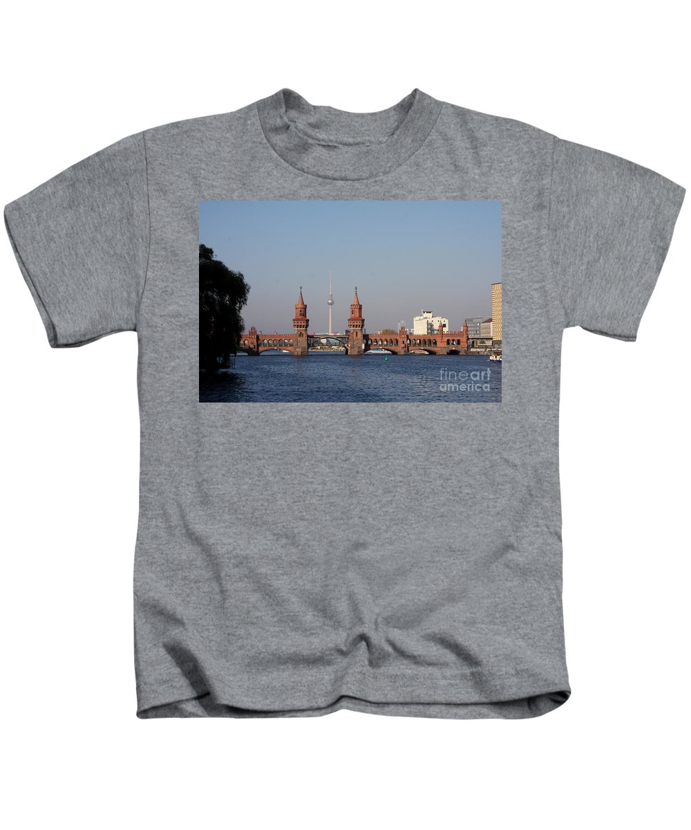 Oberbaum Bruecke Kids T-Shirt featuring the photograph Oberbaum Bridge - Berlin by Christiane Schulze Art And Photography
