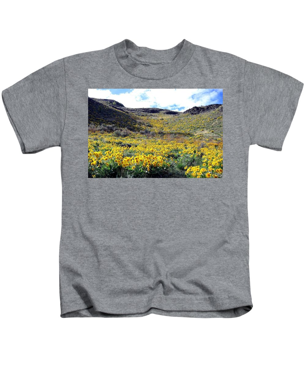 Wild Sunflowers Kids T-Shirt featuring the photograph Okanagan Valley Sunflowers 1 by Will Borden