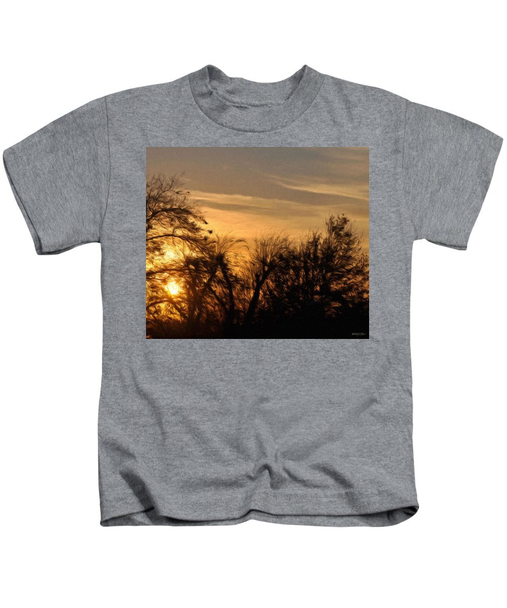 Cloud Kids T-Shirt featuring the painting Oklahoma Sunset by Jeffrey Kolker