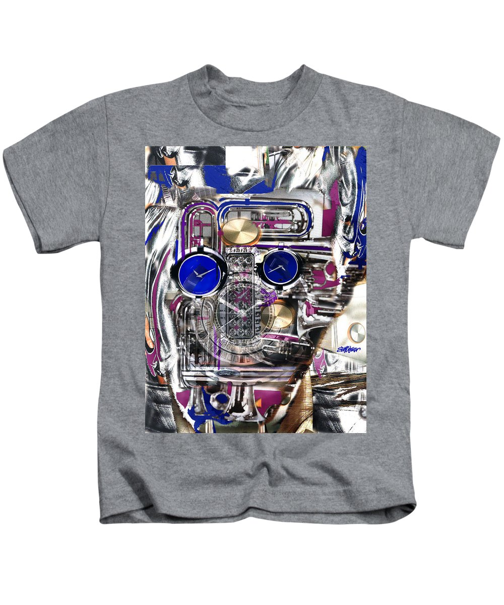Robotic Time Traveller Kids T-Shirt featuring the digital art Old Blue Eyes by Seth Weaver