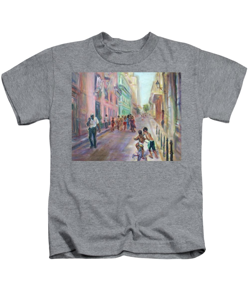 Impressionism Kids T-Shirt featuring the painting Old Havana Street Life - Sale - Large Scenic Cityscape Painting by Quin Sweetman