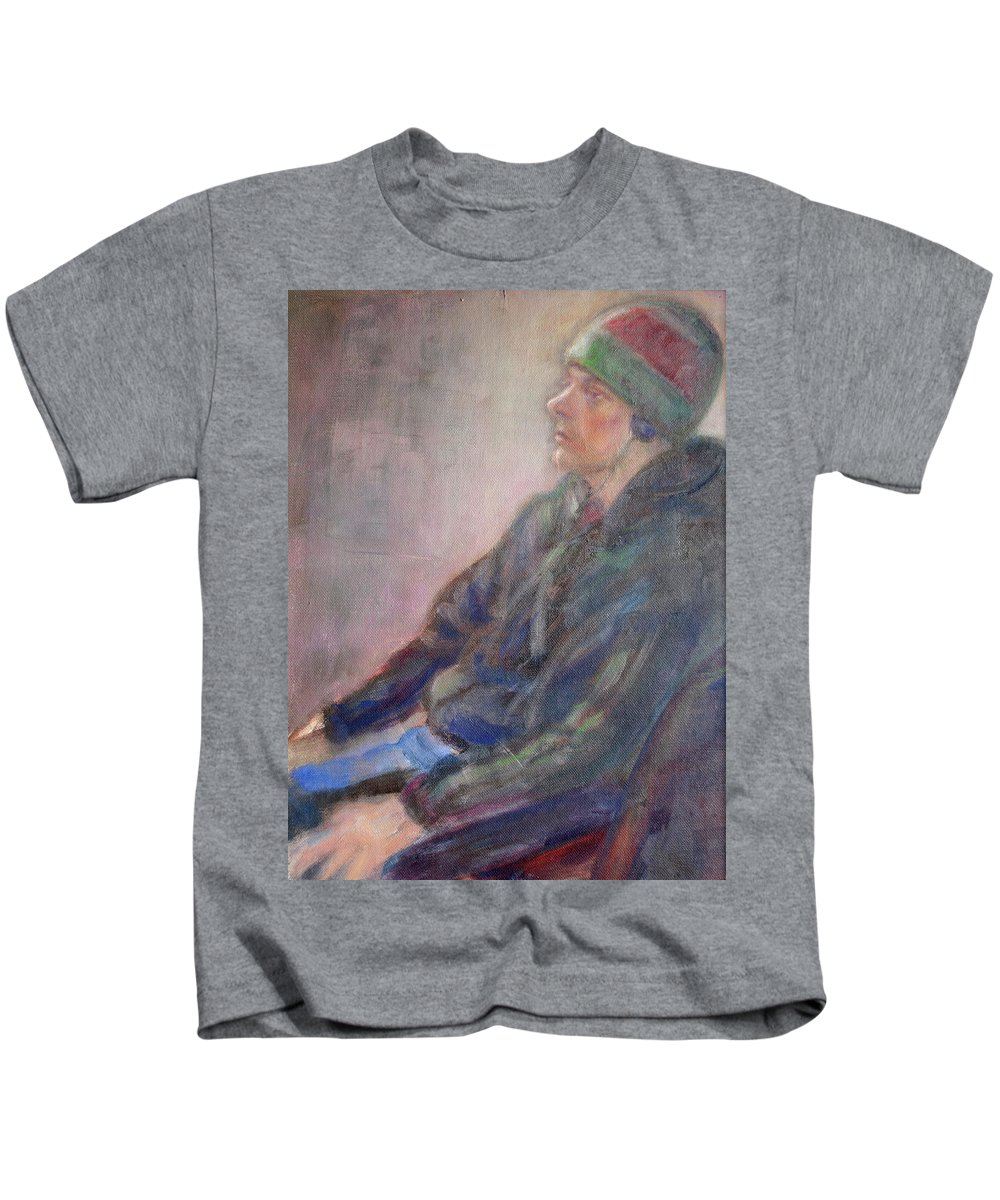 Quin Sweetman Kids T-Shirt featuring the painting Old School - Contemporary Portrait by Quin Sweetman
