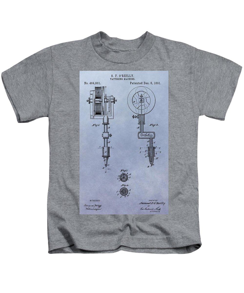 Tattoo Gun Patent Kids T-Shirt featuring the digital art Old Tattoo Gun Patent by Dan Sproul