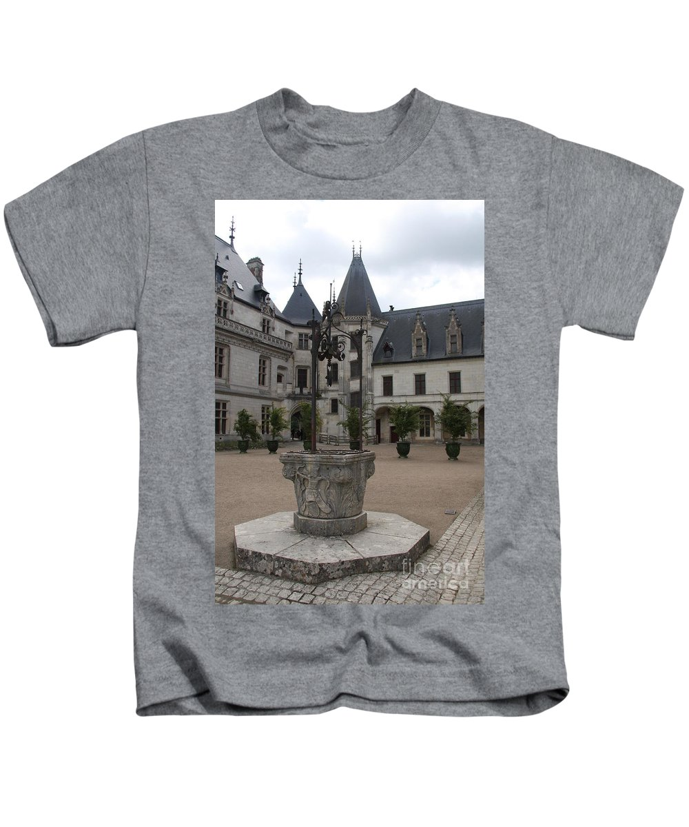Palace Kids T-Shirt featuring the photograph Old Well And Courtyard Chateau Chaumont by Christiane Schulze Art And Photography