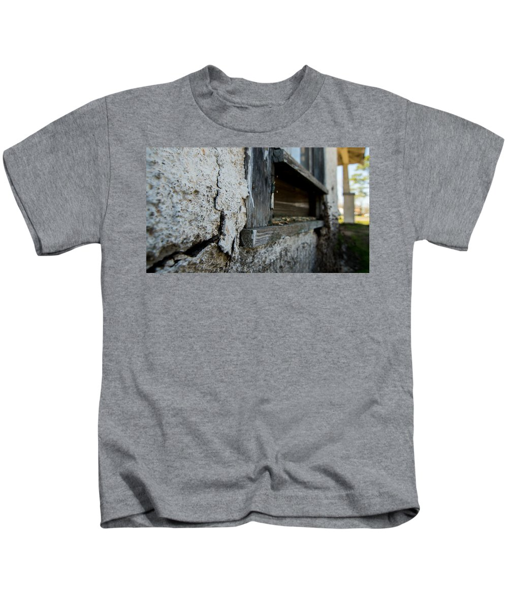 Vanishing Texas Kids T-Shirt featuring the photograph old windowsill cracked up Streetman Texas by Trace Ready
