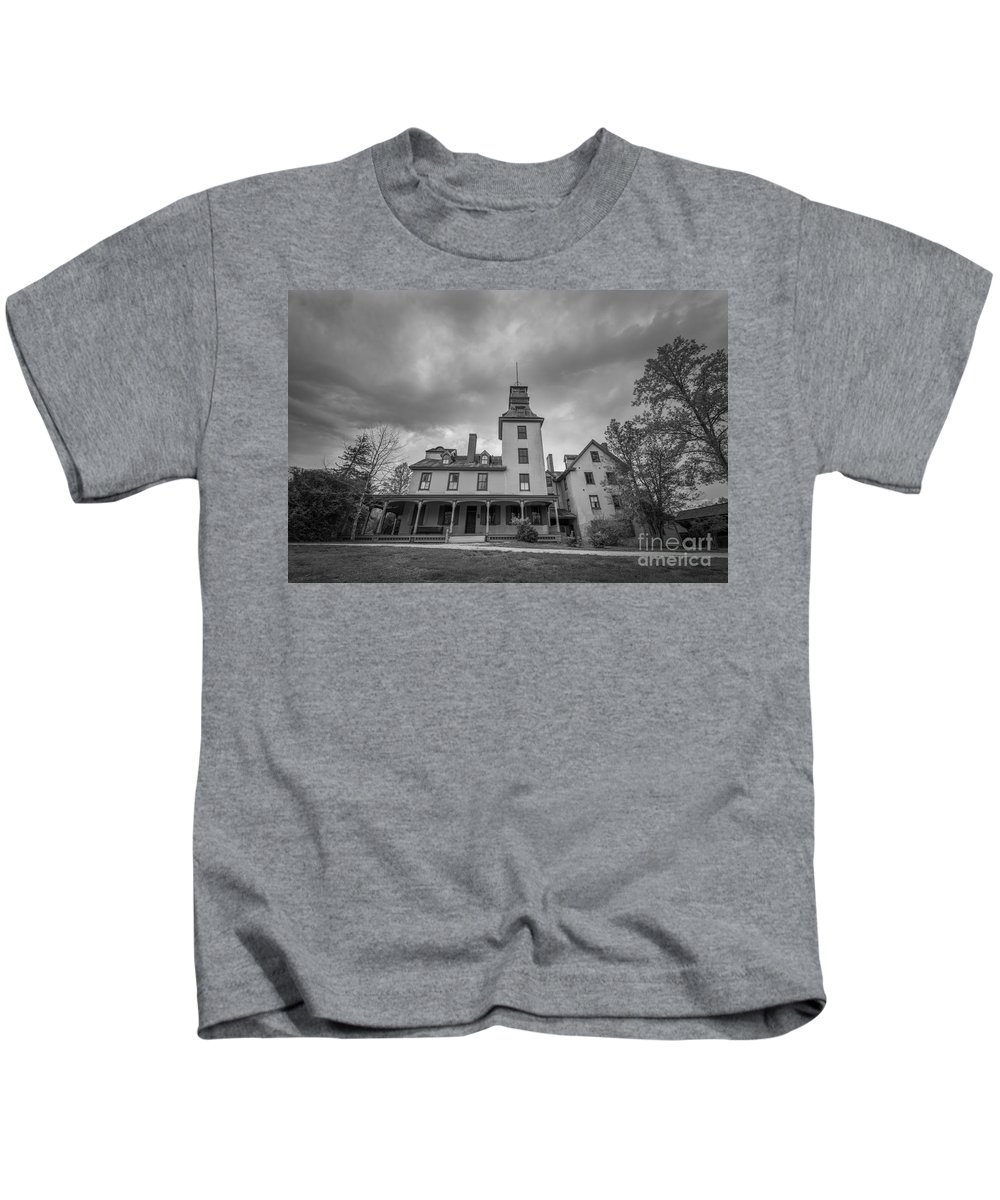 Ominous Clouds Kids T-Shirt featuring the photograph Ominous Clouds At Batsto Village Bw by Michael Ver Sprill