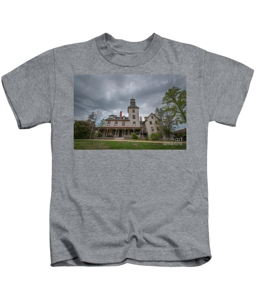 Ominous Clouds Kids T-Shirt featuring the photograph Ominous Clouds At Batsto Village by Michael Ver Sprill