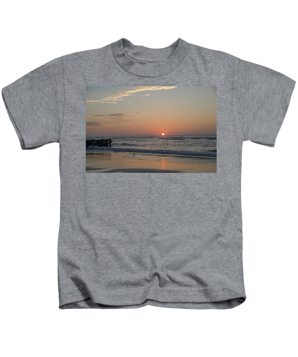 Beach Kids T-Shirt featuring the photograph On The Beach At Sunrise - Wildwood New Jersey by Bill Cannon
