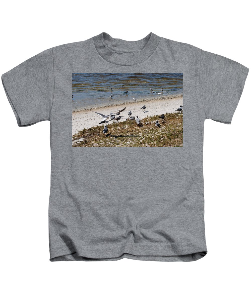 Seagull Gathering Kids T-Shirt featuring the photograph On The Beach by Robert Floyd