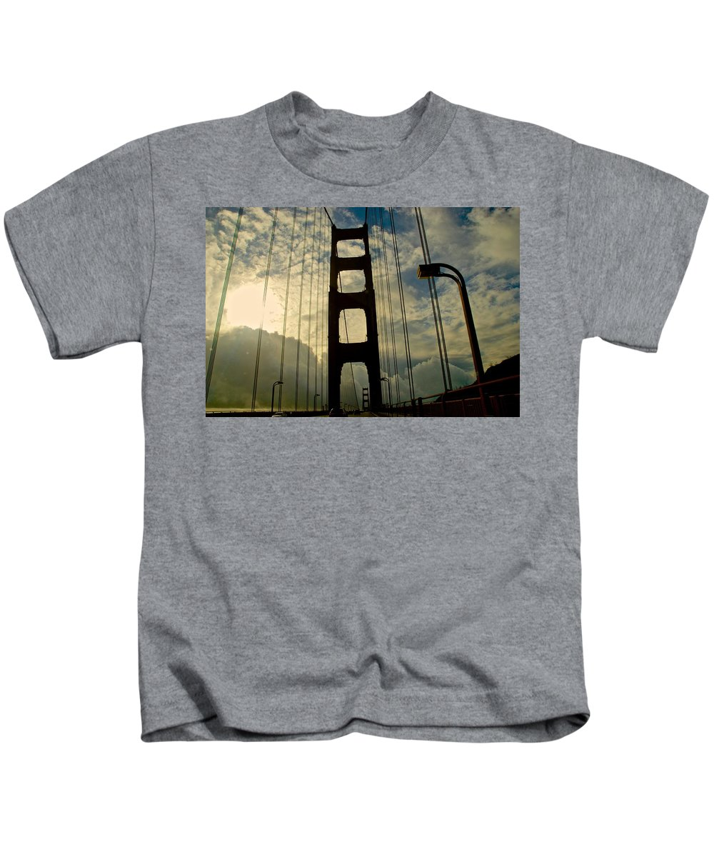 Golden Gate Bridge Kids T-Shirt featuring the photograph On The Bridge by Eric Tressler