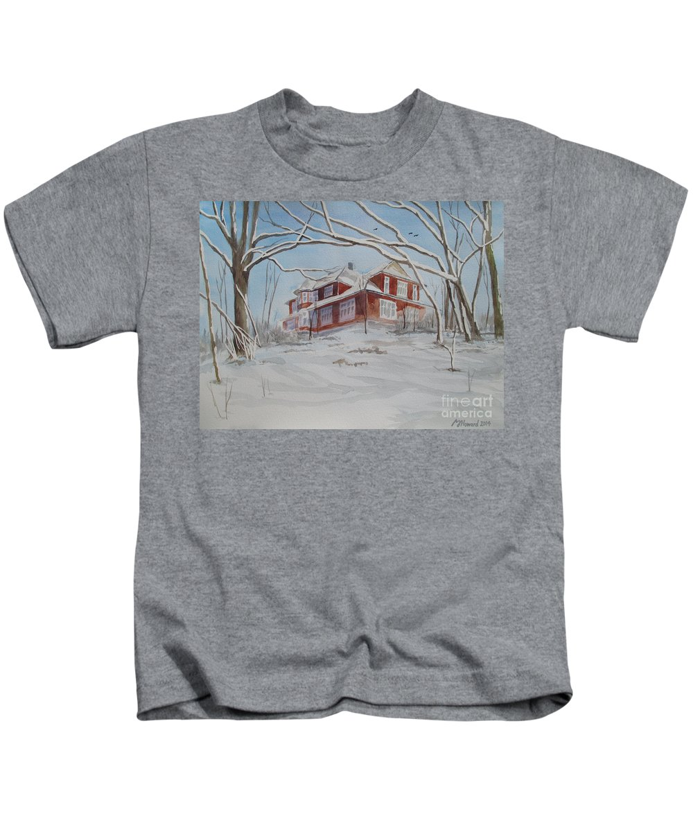 Winter Landscape Kids T-Shirt featuring the painting On The Edge by Martin Howard