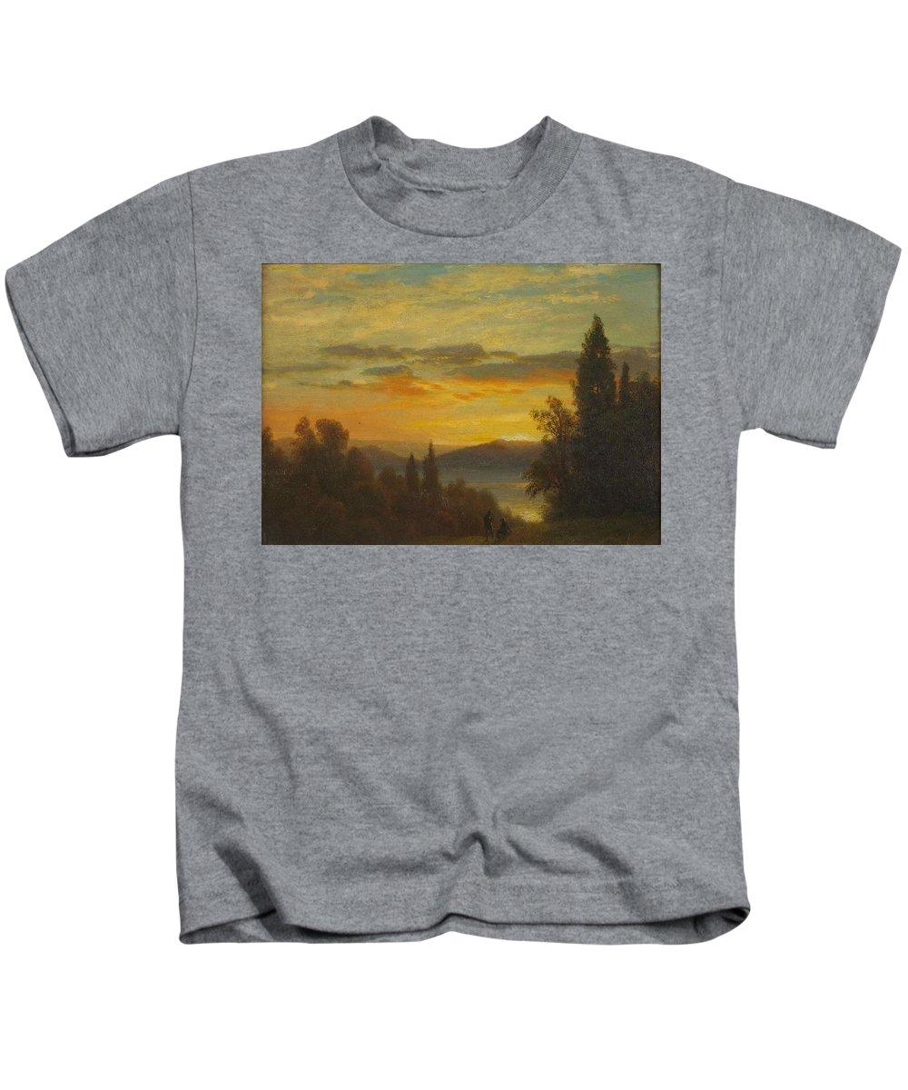 Albert Bierstadt Kids T-Shirt featuring the painting On The Hudson River Near Irvington by Albert Bierstadt