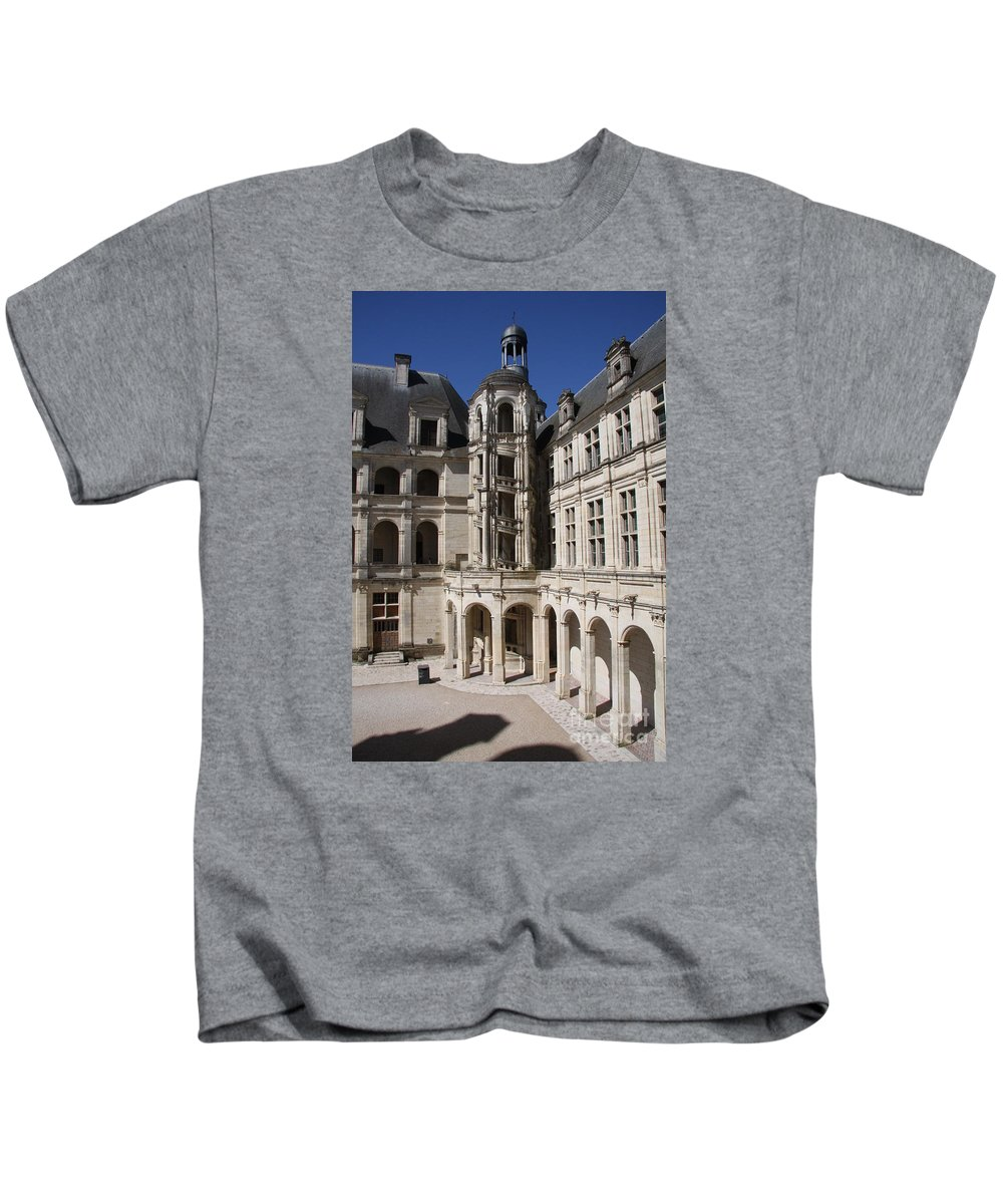 Palace Kids T-Shirt featuring the photograph Open Staircase Chateau Chambord - France by Christiane Schulze Art And Photography