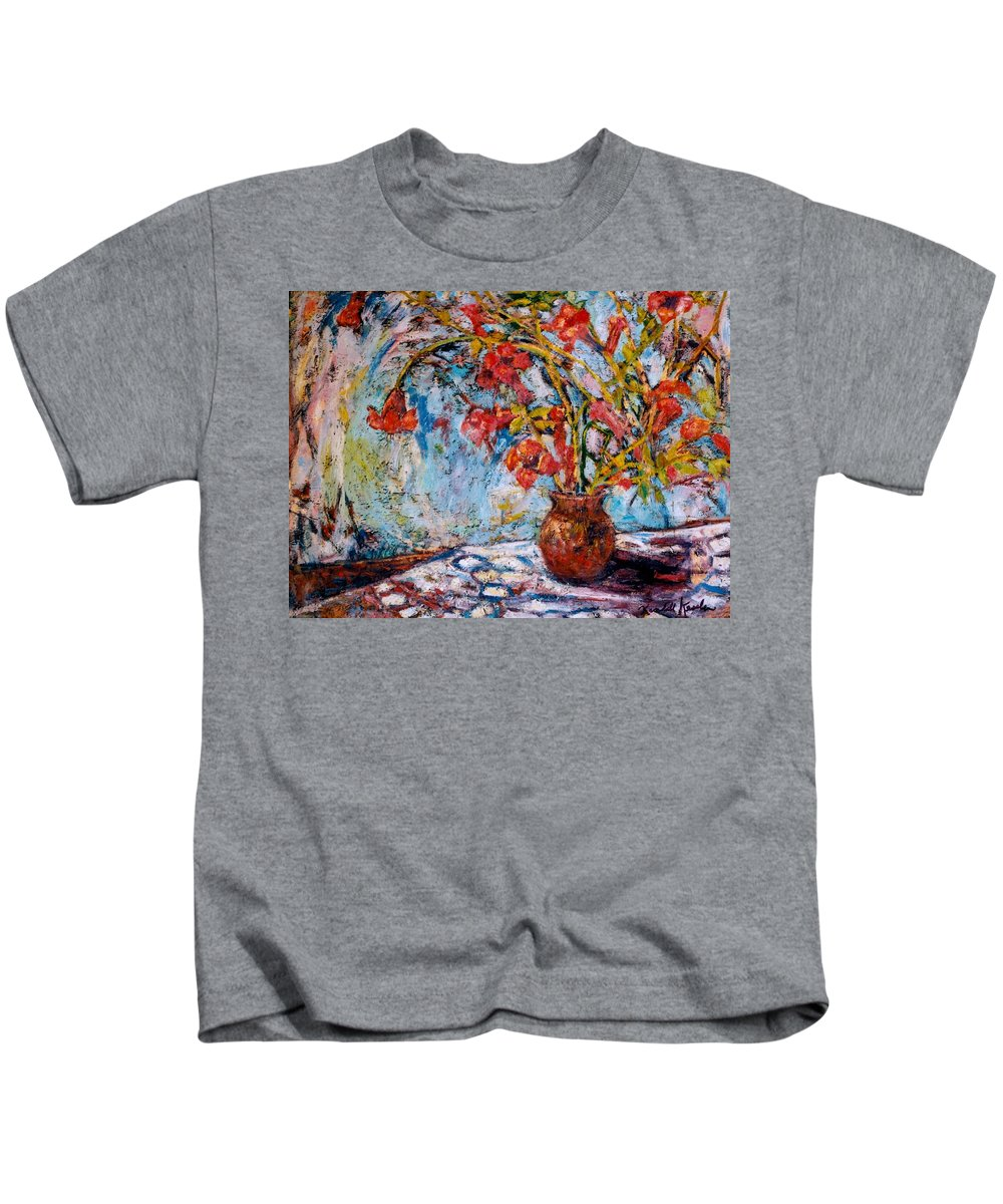 Trumpet Flowers Kids T-Shirt featuring the painting Orange Trumpet Flowers by Kendall Kessler
