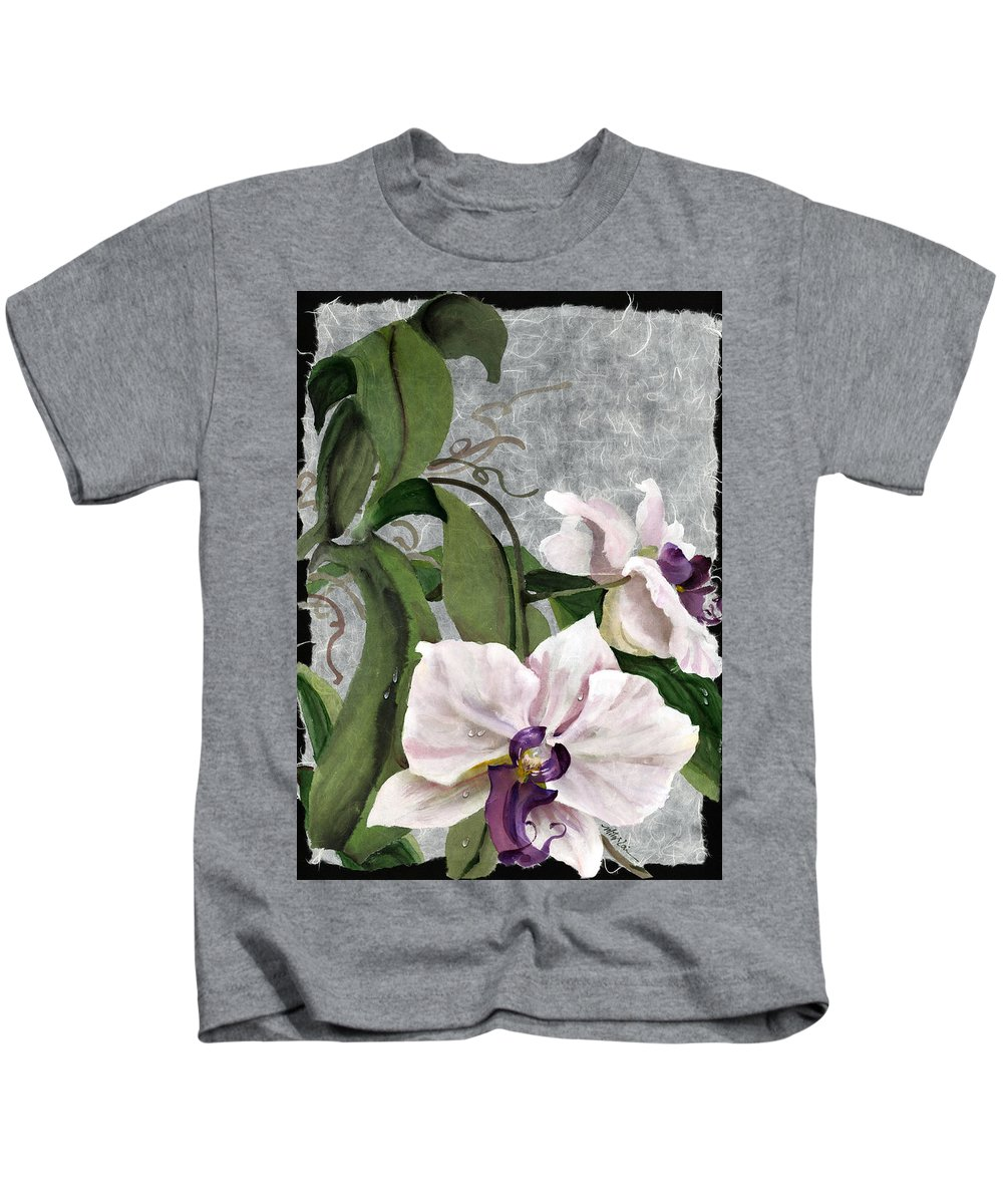 Orchid Kids T-Shirt featuring the painting Orchid A - Phalaenopsis by Mitzi Lai