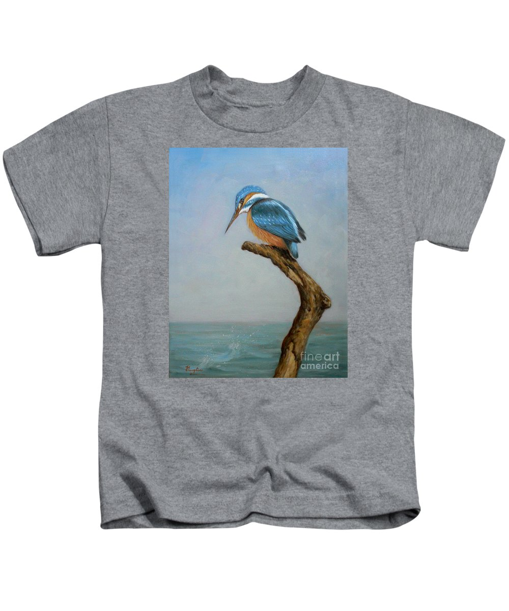 Original Kids T-Shirt featuring the painting Original Animal Oil Painting Bird Art Kingfisher On Canvas#16-2-6-15 by Hongtao   Huang