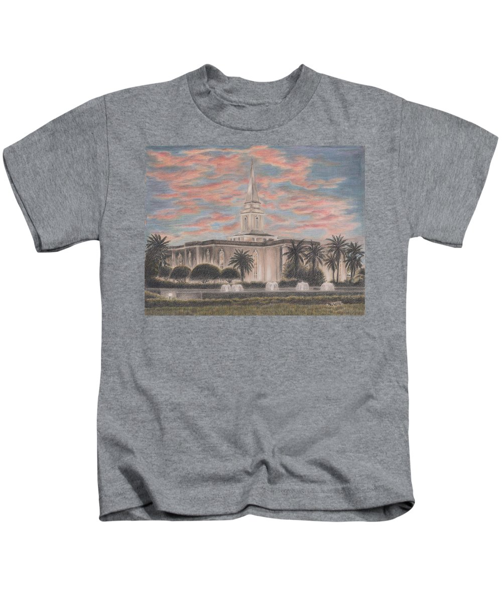 Lds Kids T-Shirt featuring the drawing Orlando Florida Lds Temple by Pris Hardy
