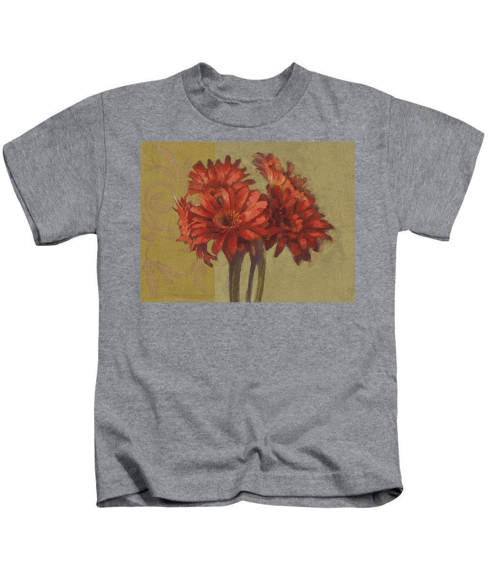 Floral Kids T-Shirt featuring the painting Ornamental Gerbers by Cathy Locke