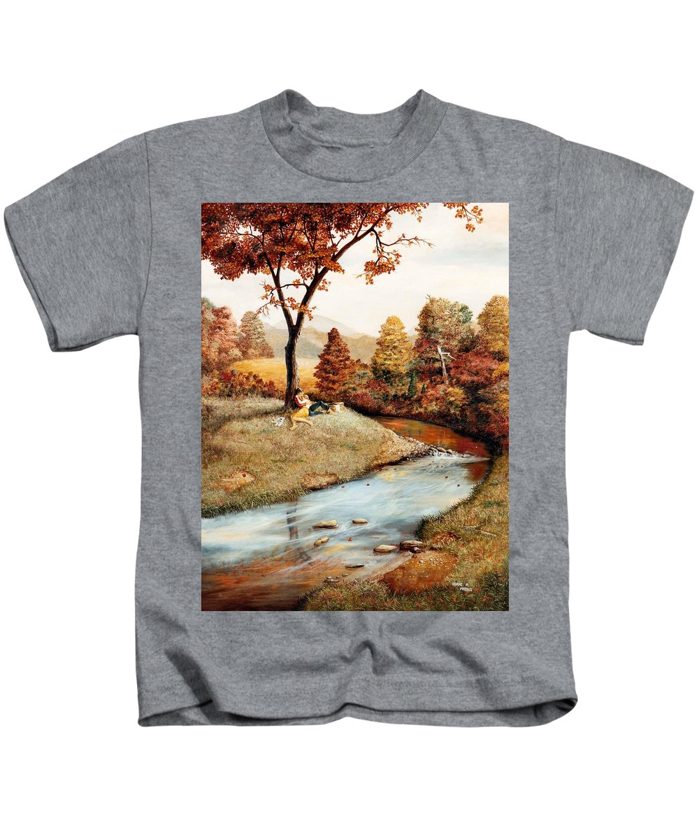 Rural Kids T-Shirt featuring the painting Our Secret Place by Duane R Probus