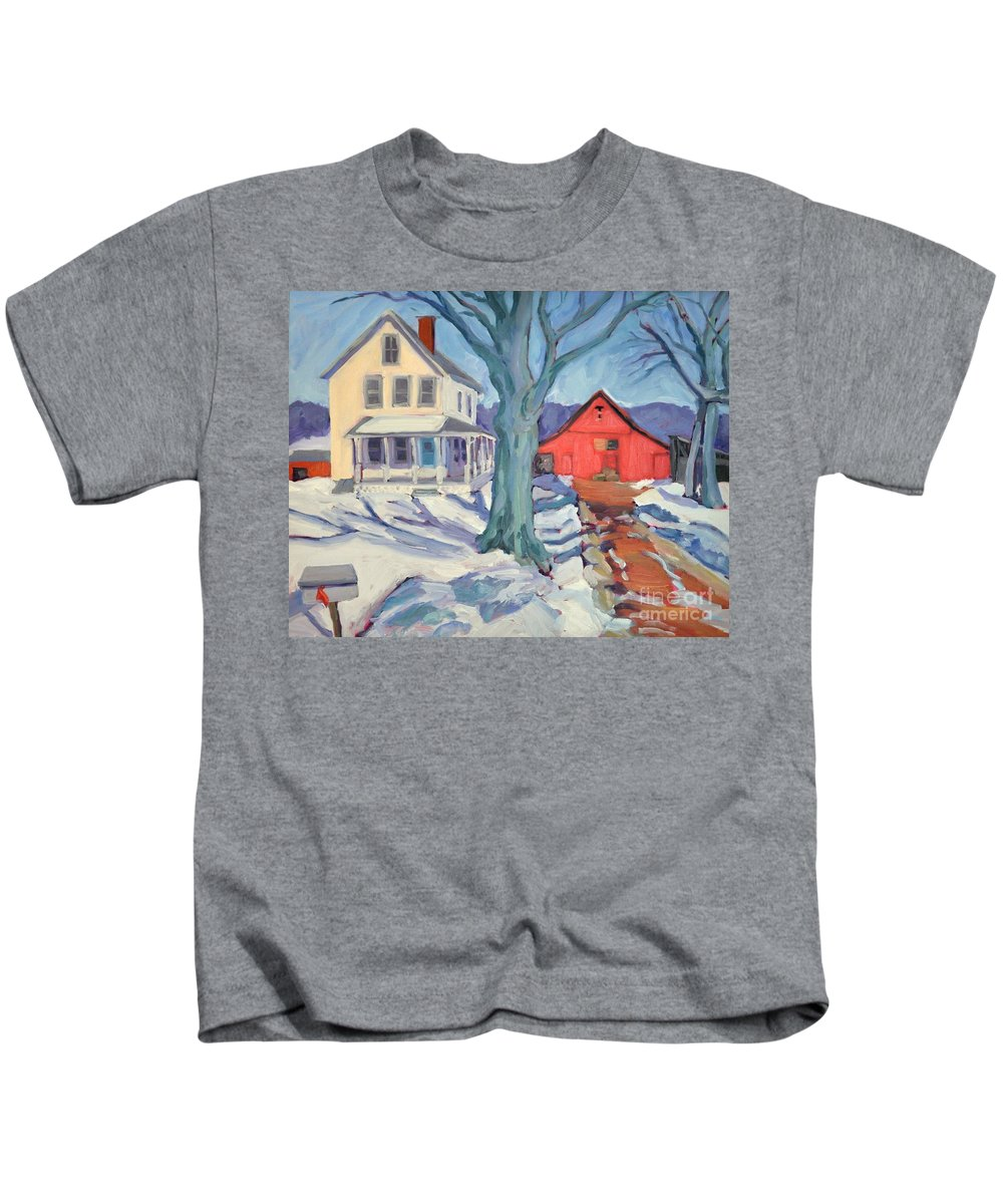 Snow Scene Kids T-Shirt featuring the painting Outgoing Mail At The Farm by Sylvina Rollins