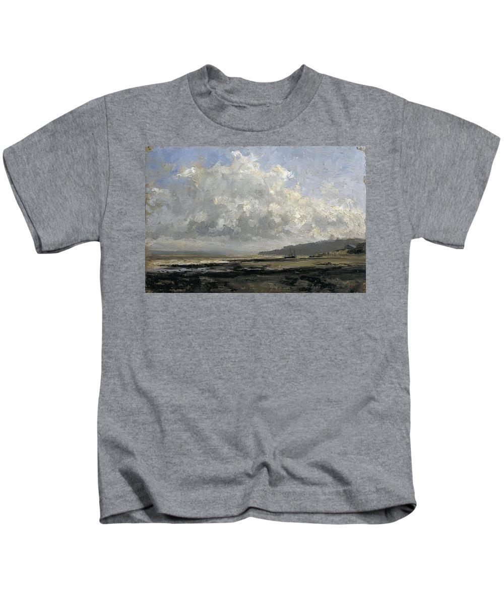 Carlos De Haes Kids T-Shirt featuring the painting Outskirts Of Trouville by Carlos de Haes