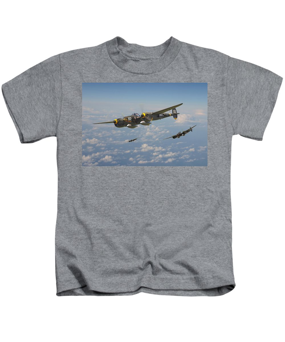 Aircraft Kids T-Shirt featuring the digital art P38 Lightning - Pacific Patrol by Pat Speirs