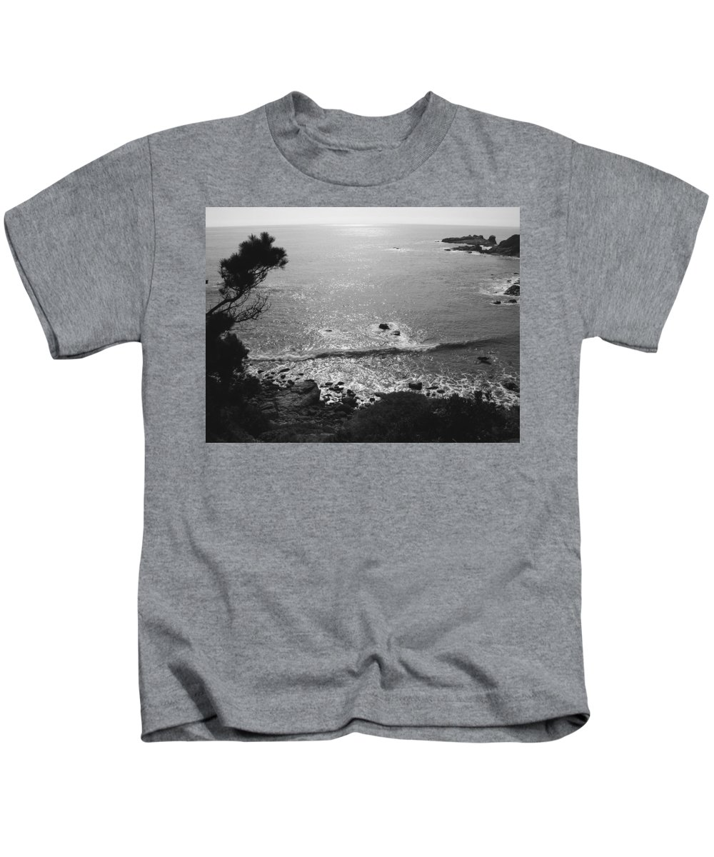 B&w Kids T-Shirt featuring the photograph Pacific Dawn by Ru Tover