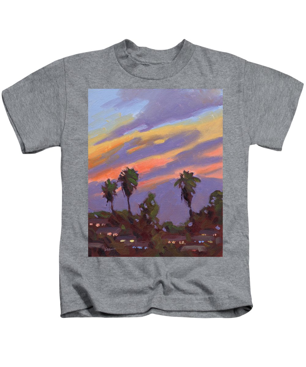 Sunset Kids T-Shirt featuring the painting Pacific Sunset 1 by Konnie Kim
