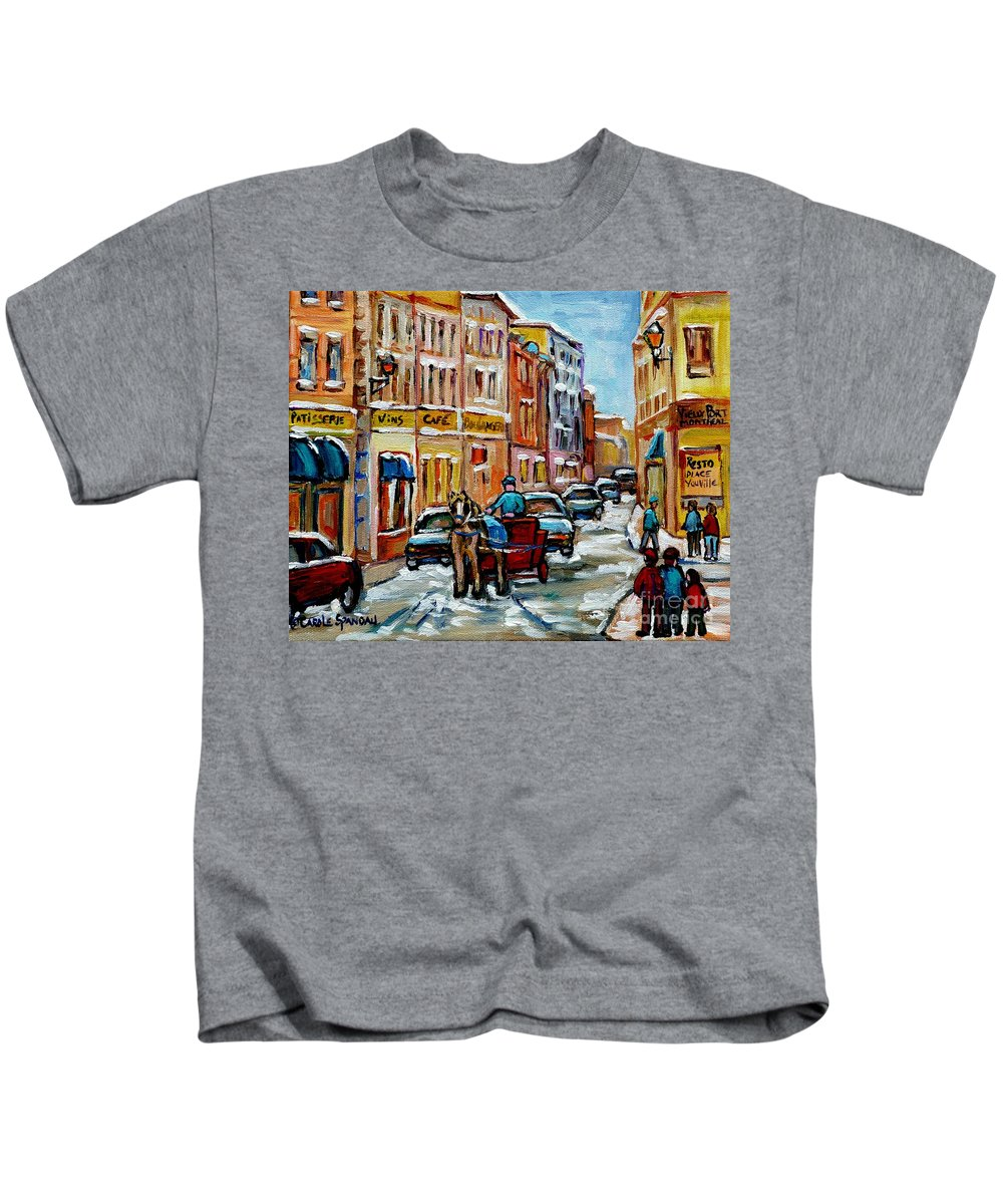 Montreal Kids T-Shirt featuring the painting Paintings Of Old Port Quebec Vieux Montreal Memories Rue Notre Dame Snowscenes Art Carole Spandau by Carole Spandau