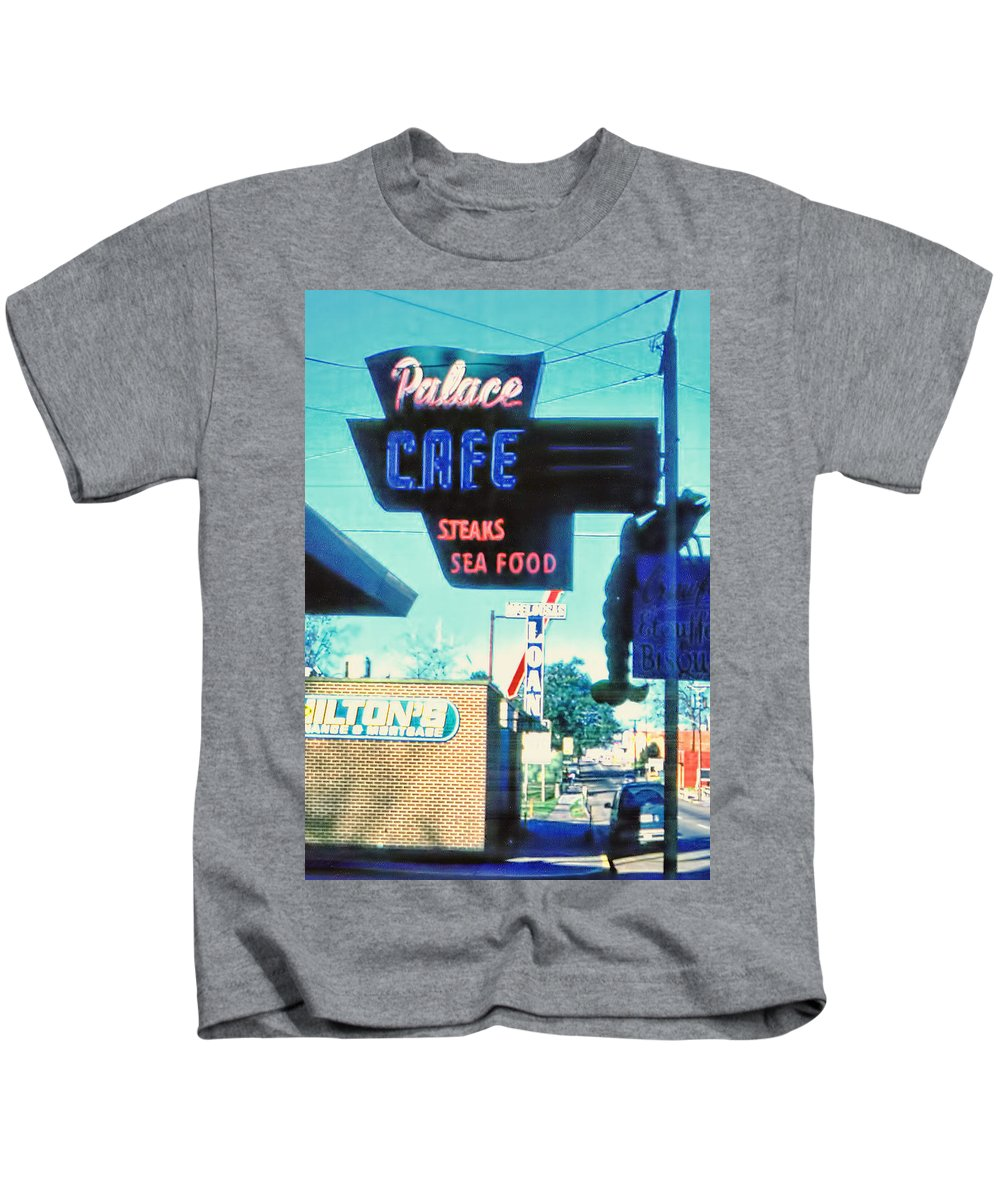 Neon Sign Kids T-Shirt featuring the photograph Palace Cafe Vintage by Cathy Anderson