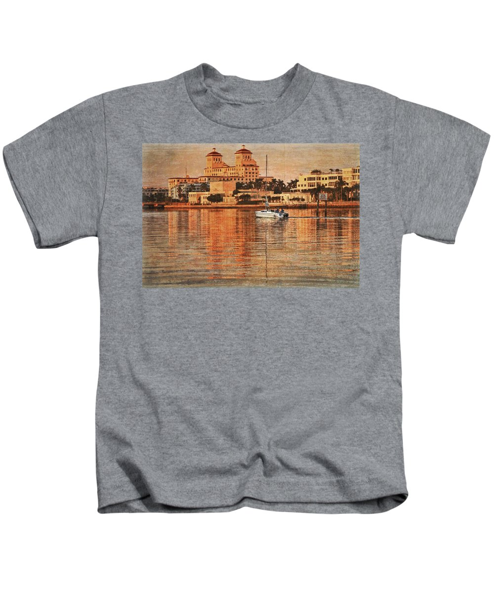 Boats Kids T-Shirt featuring the photograph Palm Beach At Golden Hour by Debra and Dave Vanderlaan
