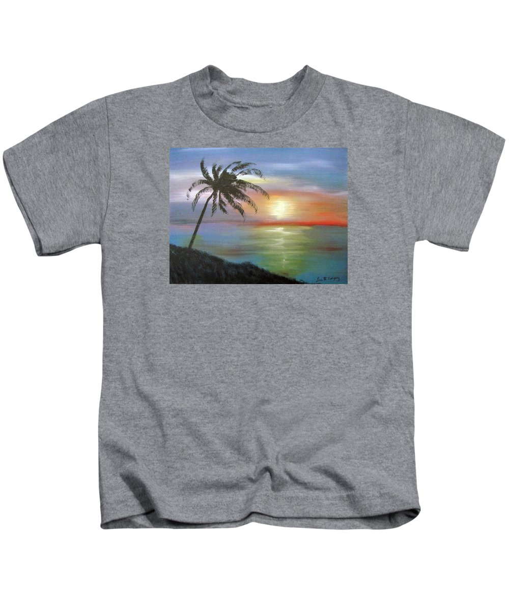 Palm Sunset Kids T-Shirt featuring the painting Palm Sunset by Luis F Rodriguez