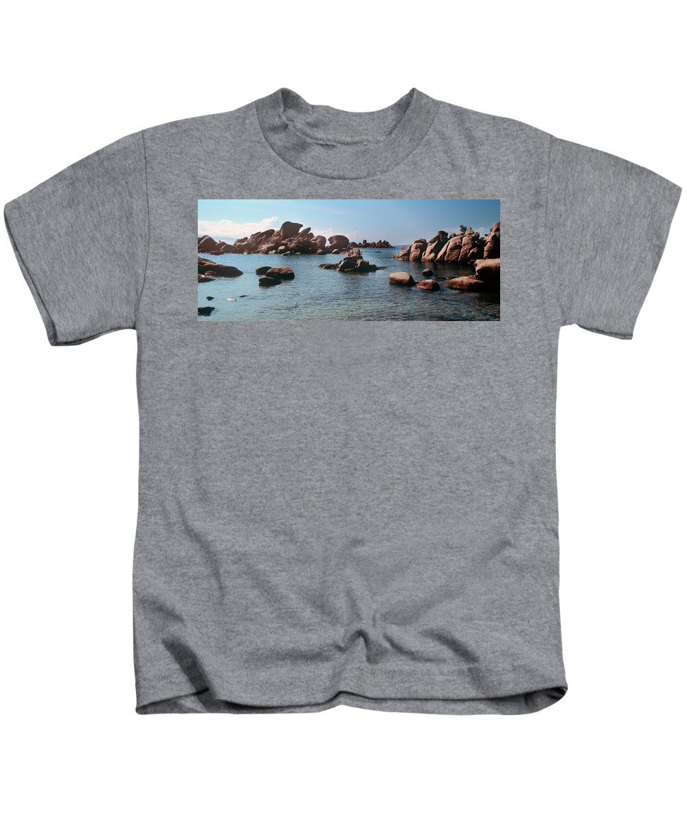 Photography Kids T-Shirt featuring the photograph Palombaggia Beach And Rocks, Corsica by Panoramic Images