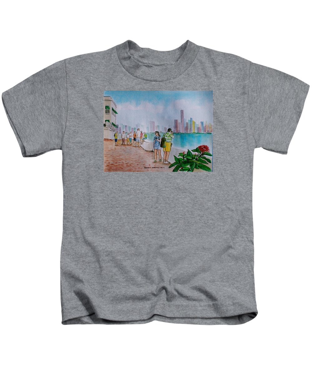 Panama City Tourists Tall Buildings People Flower Kids T-Shirt featuring the painting Panama City Panama by Frank Hunter