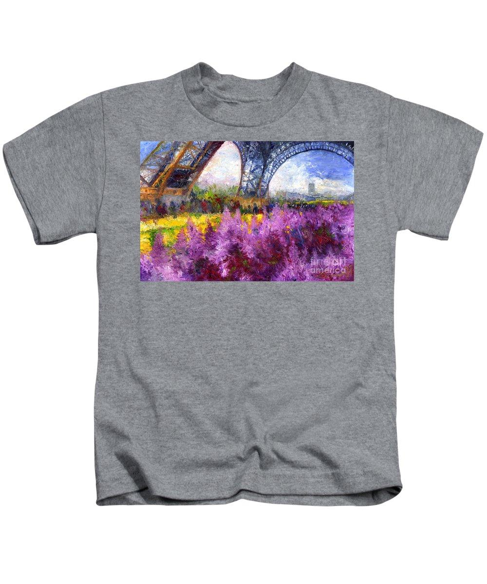 Oil Kids T-Shirt featuring the painting Paris Tour Eiffel 01 by Yuriy Shevchuk