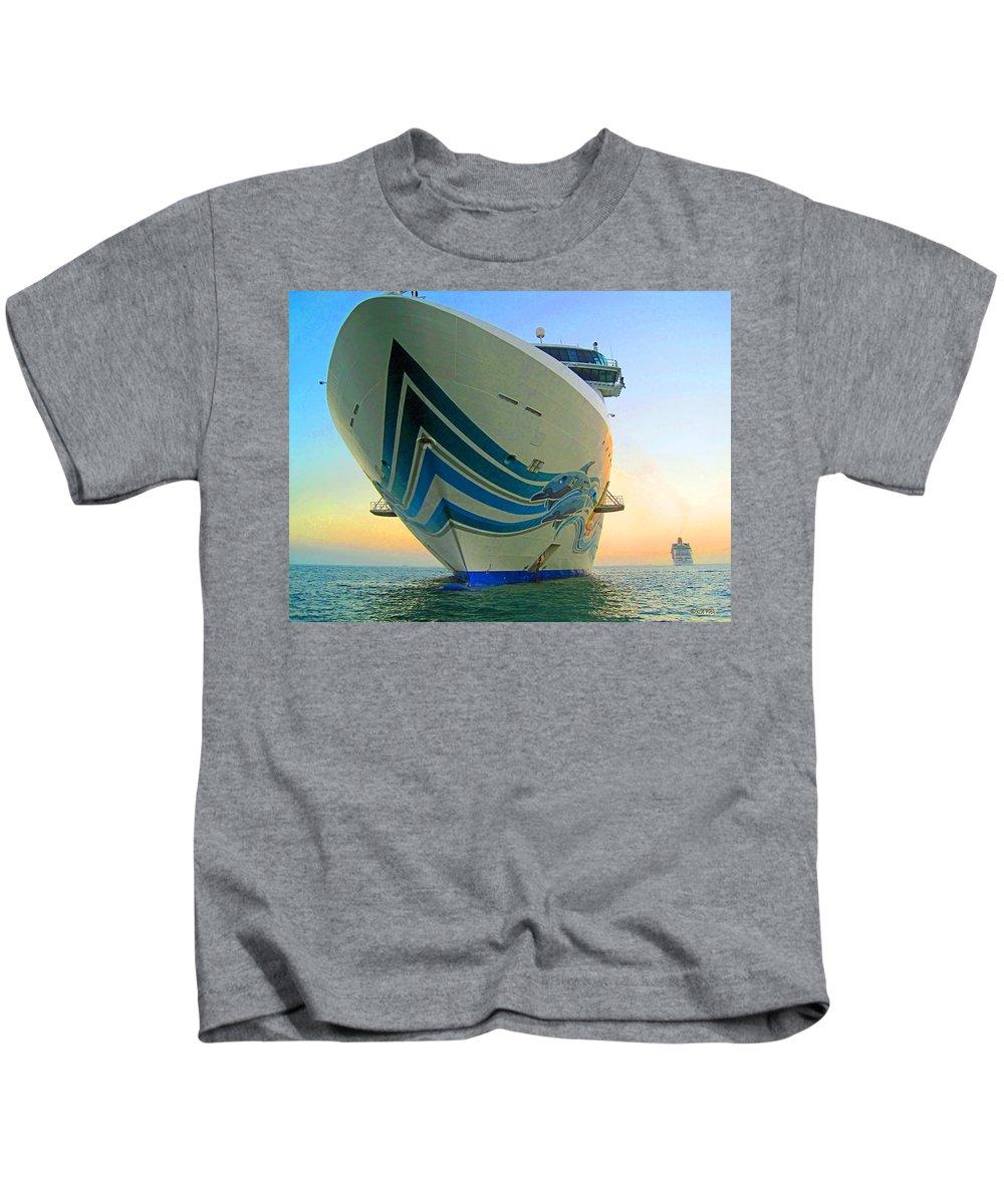 Rebecca Korpita Kids T-Shirt featuring the photograph Passing Cruise Ships At Sunset by Rebecca Korpita