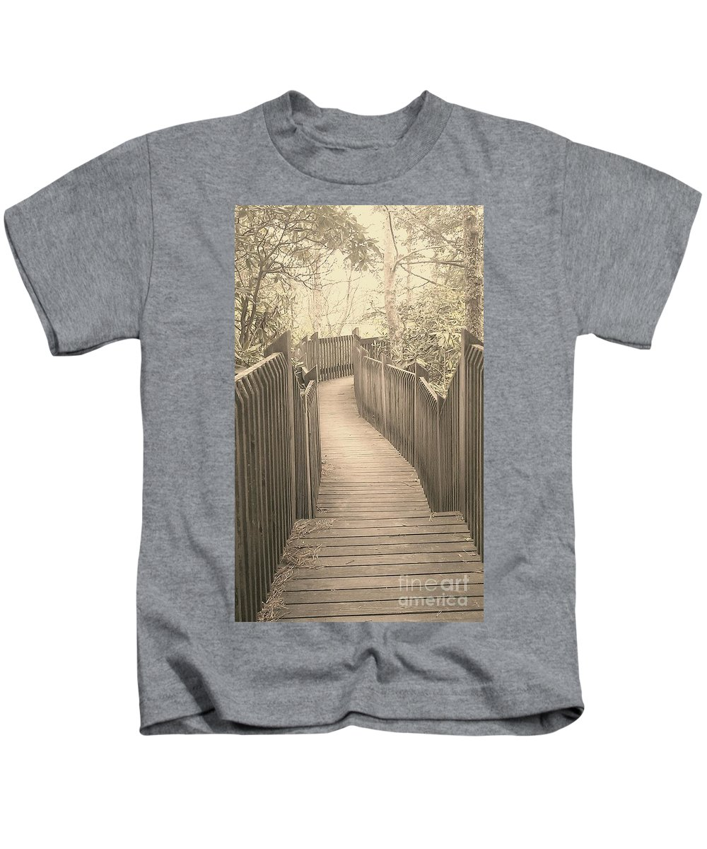 Boardwalk Kids T-Shirt featuring the photograph Pathway by Melissa Petrey