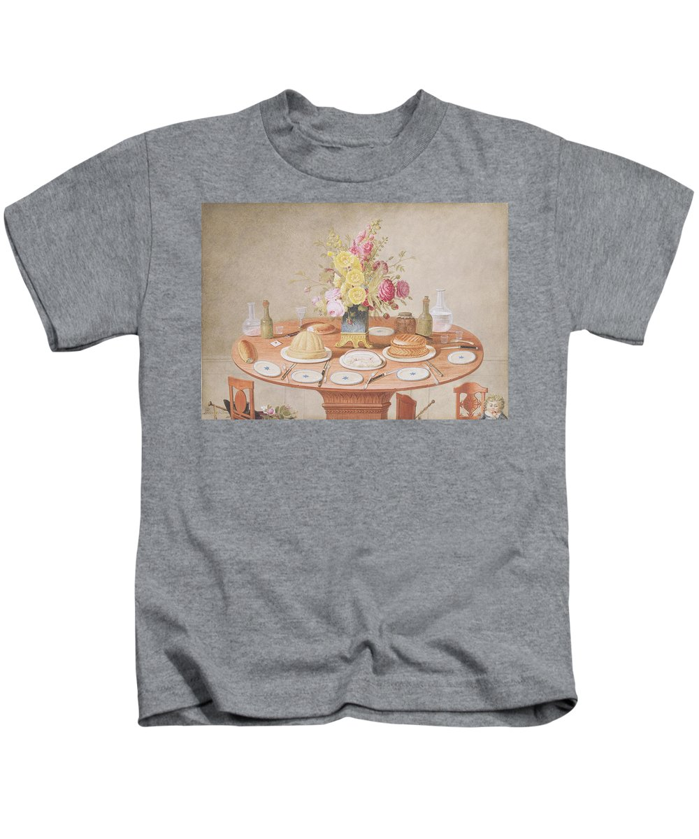 Bread Kids T-Shirt featuring the drawing Pd.869-1973 Still Life With A Vase by Jean-Louis Prevost