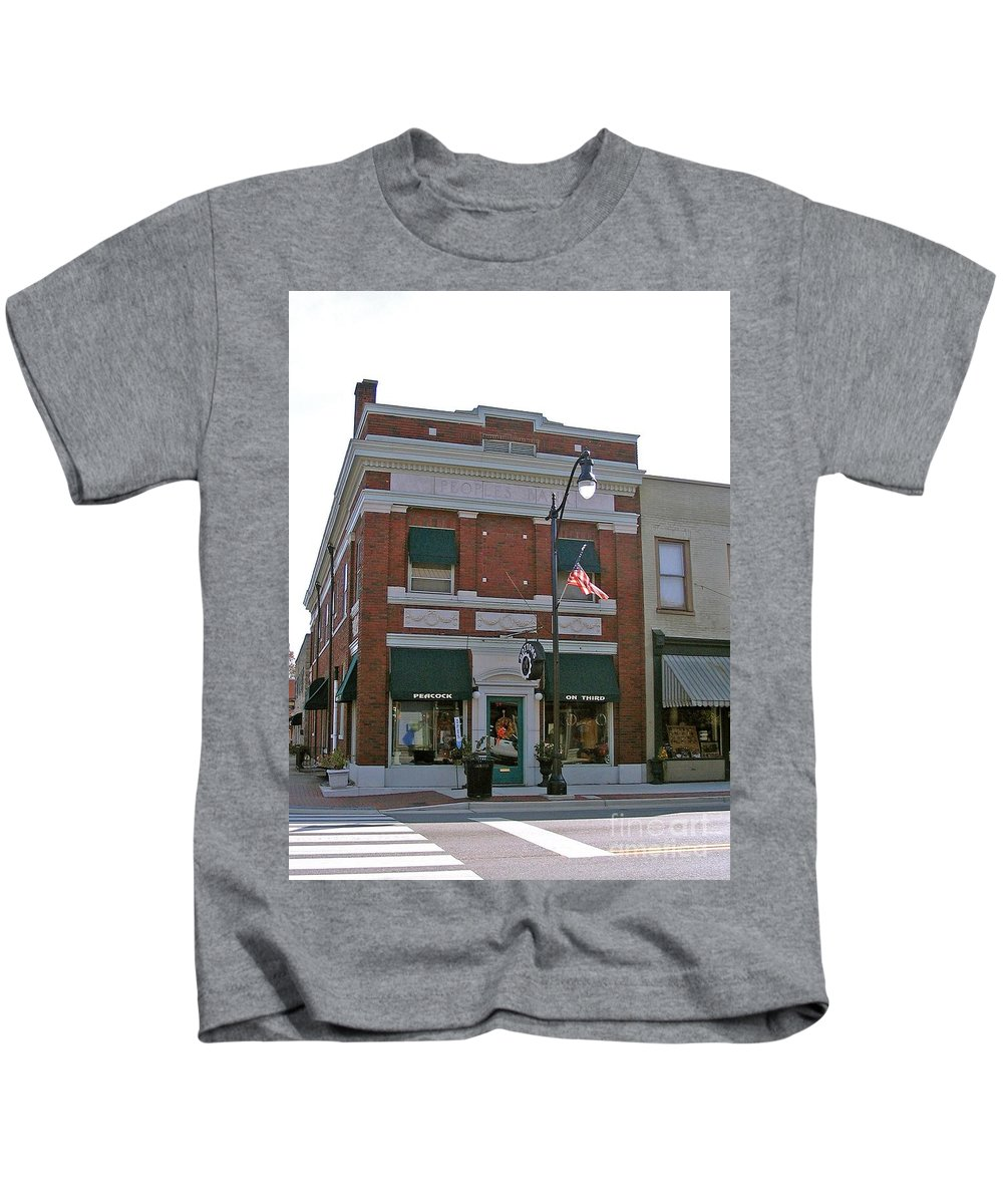 Photograph Kids T-Shirt featuring the photograph Peacock On Third Street by Marian Bell