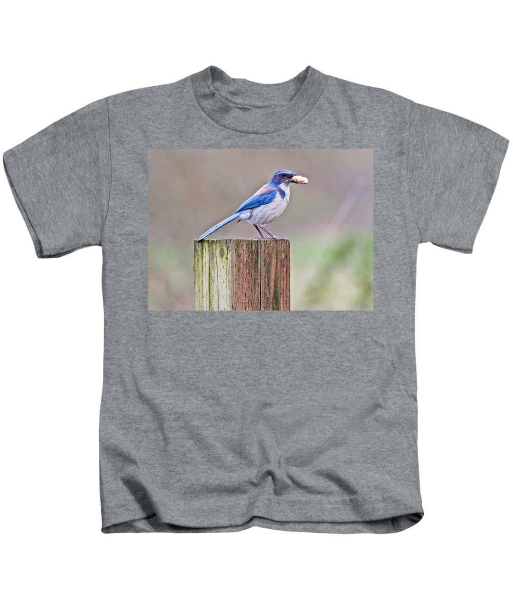 Western Scrub-jay Kids T-Shirt featuring the photograph Peanut Any One? by Athena Mckinzie