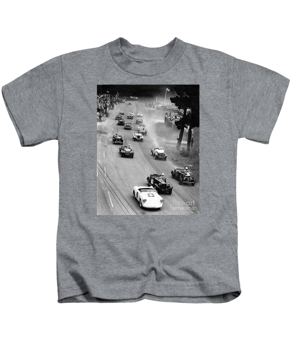 2000-047-0001 Kids T-Shirt featuring the photograph Pebble Beach California Sports Car Races Auto Road Race April 11 1954 by California Views Archives Mr Pat Hathaway Archives