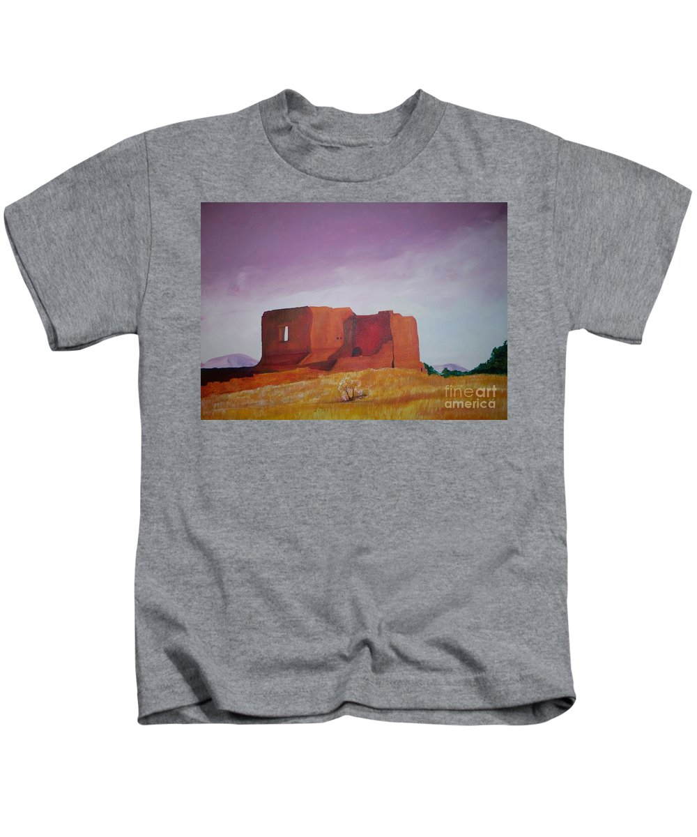 Western Kids T-Shirt featuring the painting Pecos Mission Landscape by Eric Schiabor